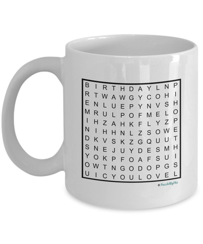 "PuzzledByThis Word Finder Mugs   ""Happy Birthday Dad I know you love puzzlesI hope this mug reminds you of me Love you"" Word Search Happy Birthday Gift Mug for Dad"