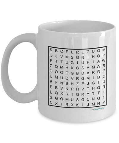"PuzzledByThis Word Finder Mugs  ""Of Course I'm Right I'm The Fucking Security Guard"" Word Search Gift Mug"