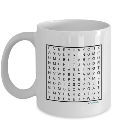 "PuzzledByThis Word Finder Mugs   ""Happy Birthday To My Husband You Bring Me Sunshine Every Day In Every Way Love You"" Word Search Birthday Gift Mug for your Husband"