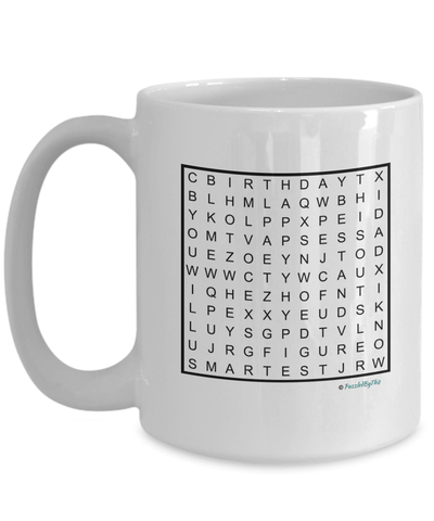 "PuzzledByThis Word Finder Mugs   ""Happy birthday to the best and smartest Dad I know you will figure this out love you"" Word Search Happy Birthday Gift Mug for Dad"