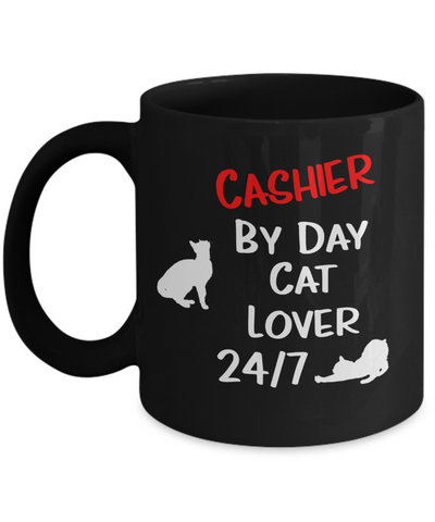 "Gift for Cat Lover Cashier   Cashier Gift, ""Cashier by Day, Cat Lover 24/7"" Funny Novelty Coffee Mug Perfect Birthday Mug, Anniversary Mug, Gift Mug for your  cat lover Cashier Employer or Boss, friend or family member"