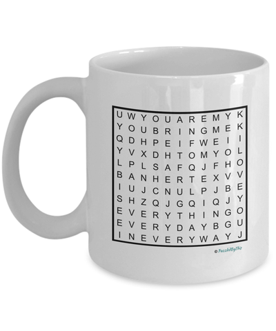 "PuzzledByThis Word Finder Mugs   ""To my Darling You Bring Me Sunshine Every Day In Every Way You Are My Everything I Love You"" Word Search Gift Mug for your loved one"