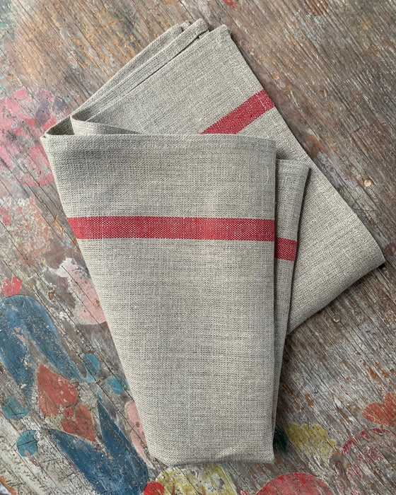 Thick linen kitchen cloth - natural with red stripe