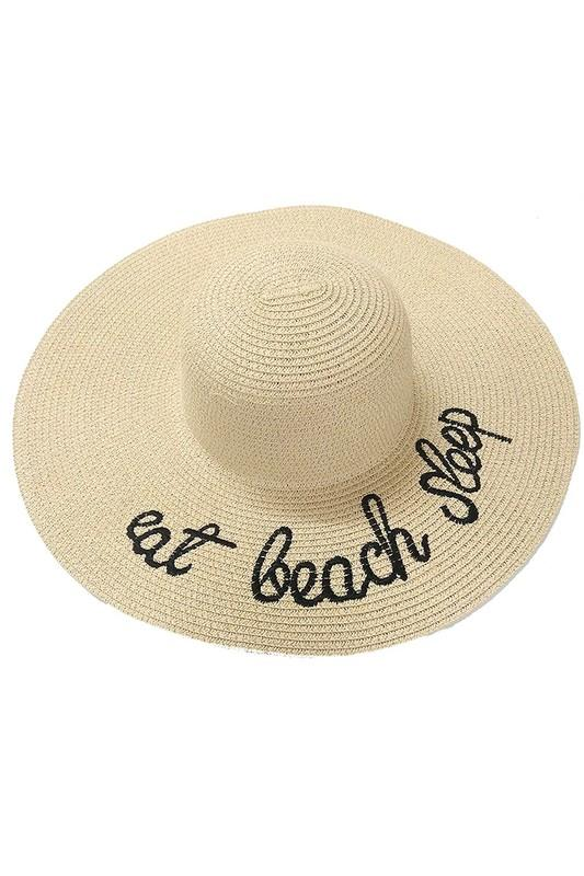Wide Brim Embroidered Straw Sun Hat in Beige - Lounge Beauties