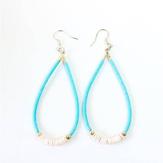Ora Louise Kingman Turquoise Shell Teardrop Earrings - Lounge Beauties