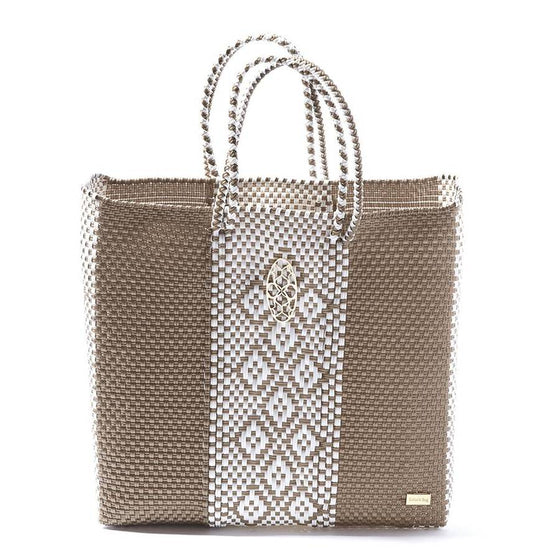 Lola's Oaxaca Tote in Gold & White - Lounge Beauties