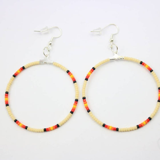 Ora Louise Cream Beaded Hoop Earrings - Lounge Beauties