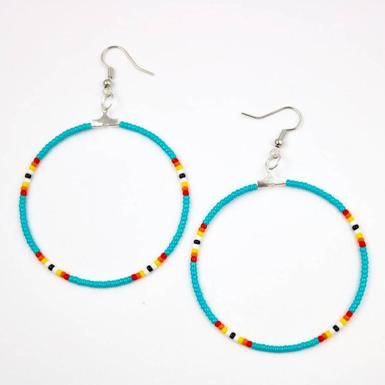 Ora Louise Turquoise Bead Hoop Earrings - Lounge Beauties