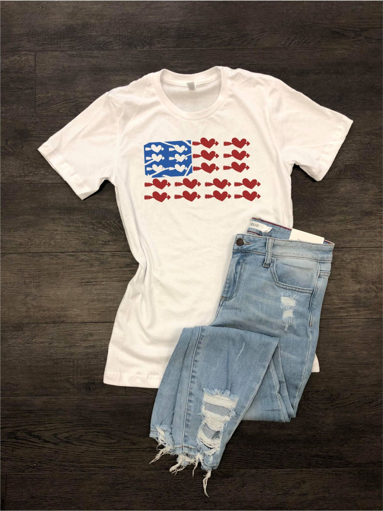 USA Flag Heart Short Sleeve Tee - Lounge Beauties