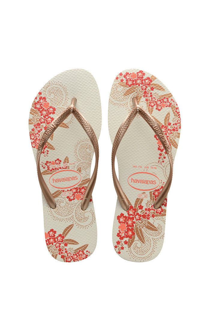 Havaianas Slim Organic White and Gold Rose Sandal - Lounge Beauties