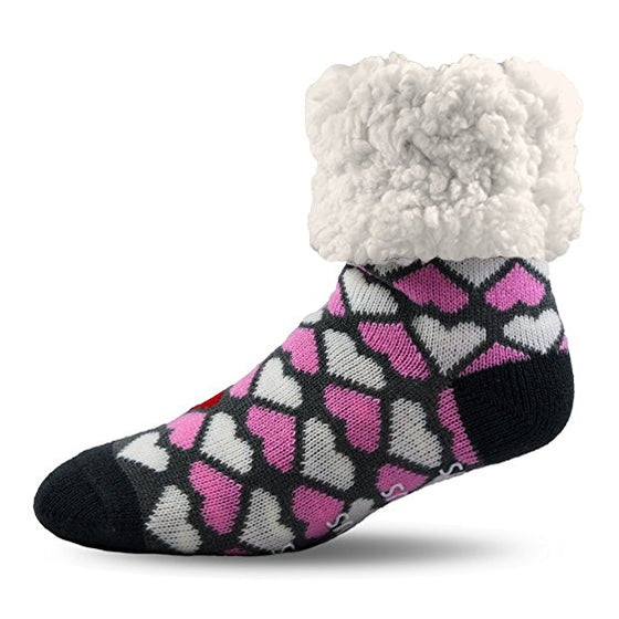 Pudus Slipper Socks - Hearts - Lounge Beauties