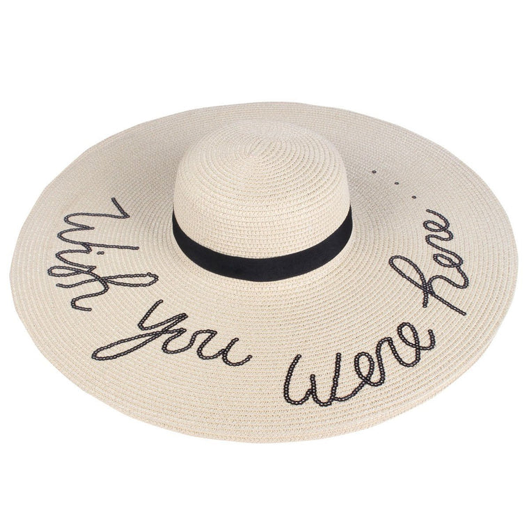 Extra Wide Brim Sun Straw Hat in Beige - Wish You Were Here - Lounge Beauties