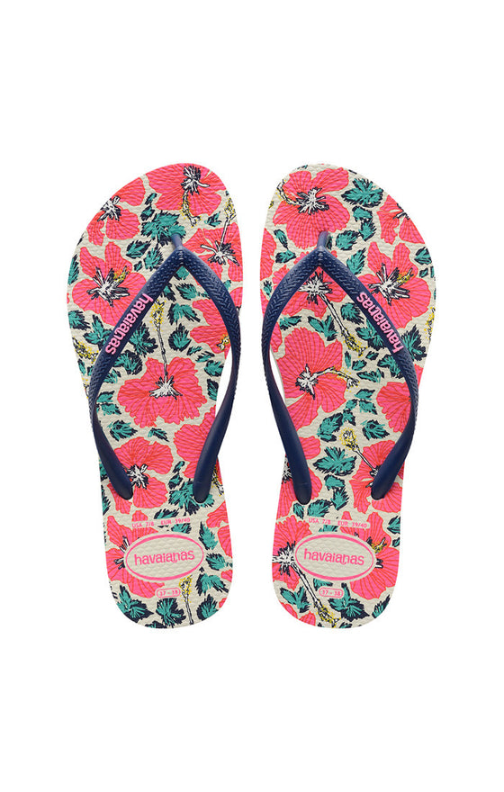 Havaianas Slim Floral White and Navy Blue Sandal - Lounge Beauties