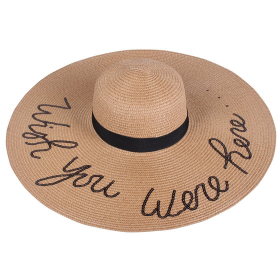 Extra Wide Brim Sun Straw Hat in Khaki - Wish You Were Here - Lounge Beauties