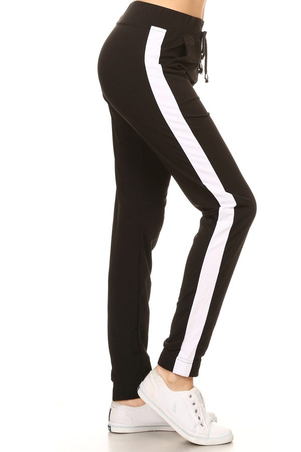 Racer Striped Jogger Pant in Black - Lounge Beauties