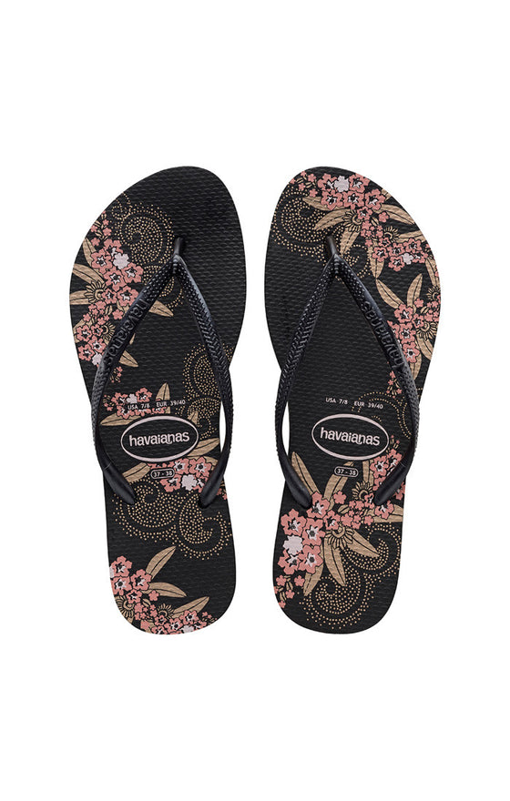 Havaianas Slim Organic Black and Dark Grey Sandal - Lounge Beauties