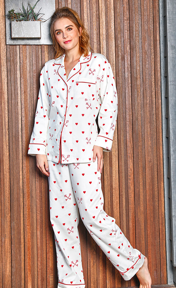 BedHead Key To My Heart Sateen Long PJ Set - Lounge Beauties