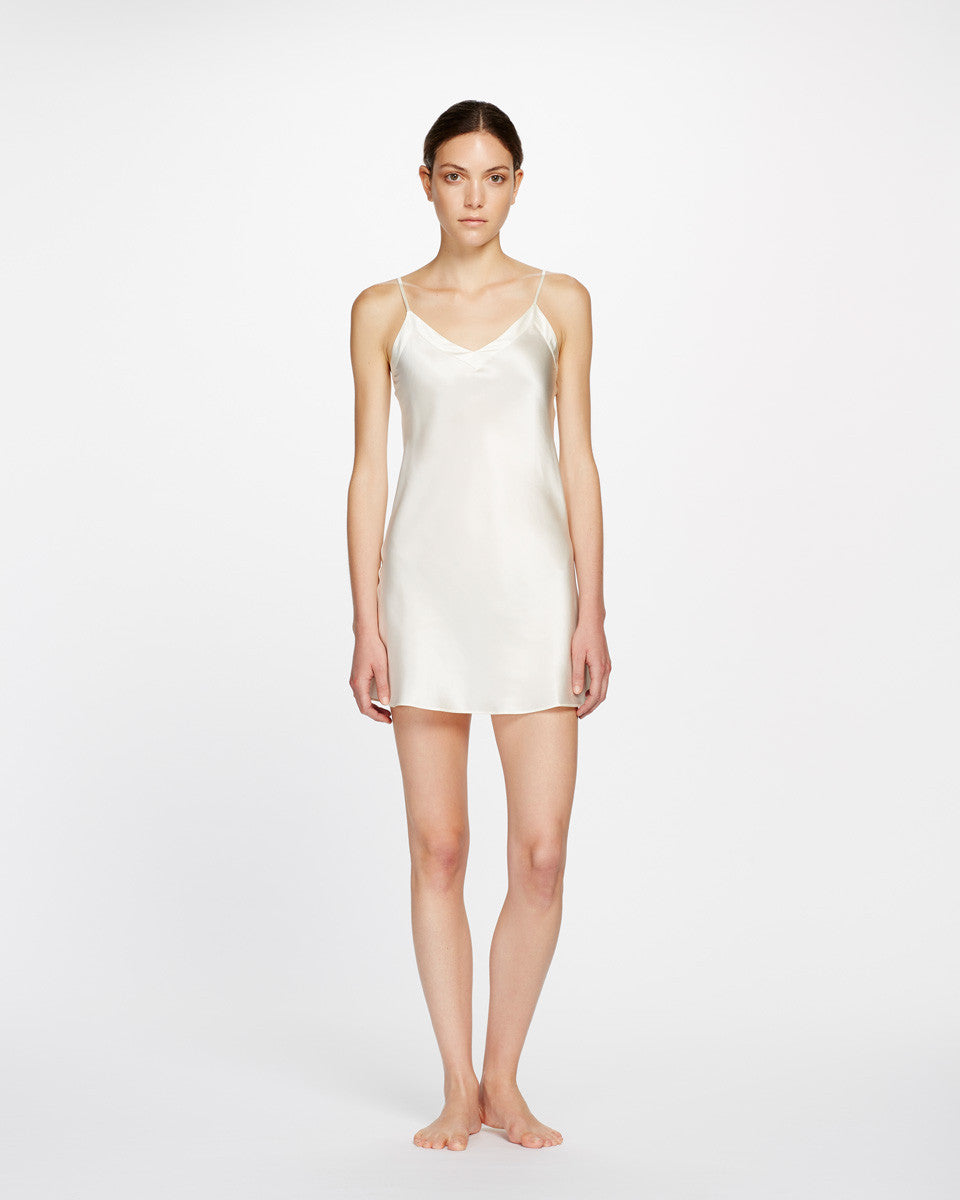 Ginia Silk V Neck Chemise - Lounge Beauties