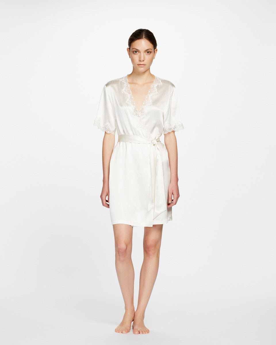 Ginia Silk Short Wrap Robe with Lace
