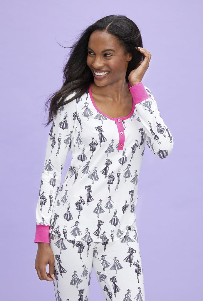 Bedhead Retro Catwalk Henley Stretch Long Sleeve PJ's - Lounge Beauties
