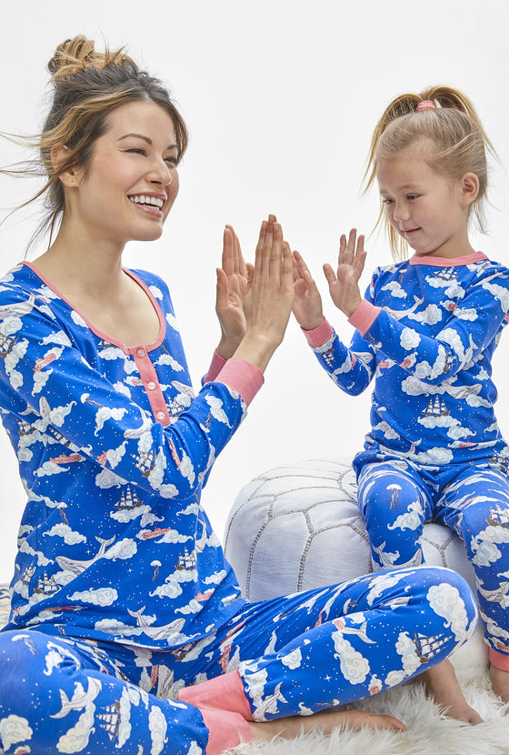 Bedhead Celestial Sea Henley Long Sleeve Stretch PJ's - Lounge Beauties