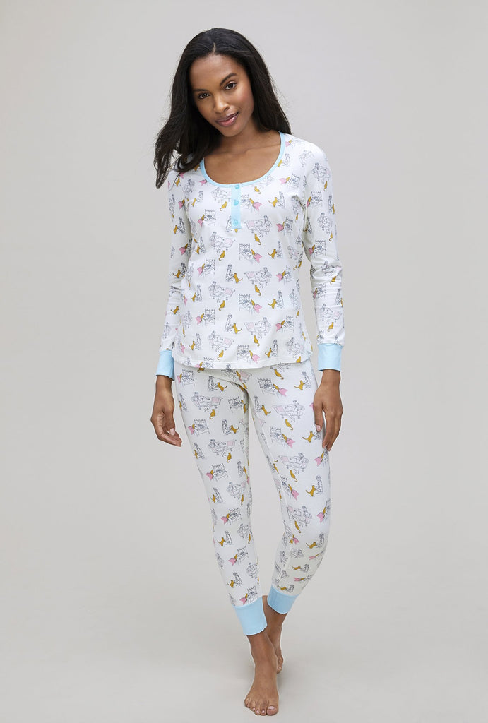 Bedhead Holly's Cat Henley Stretch Long Sleeve Henley PJ Set - Lounge Beauties