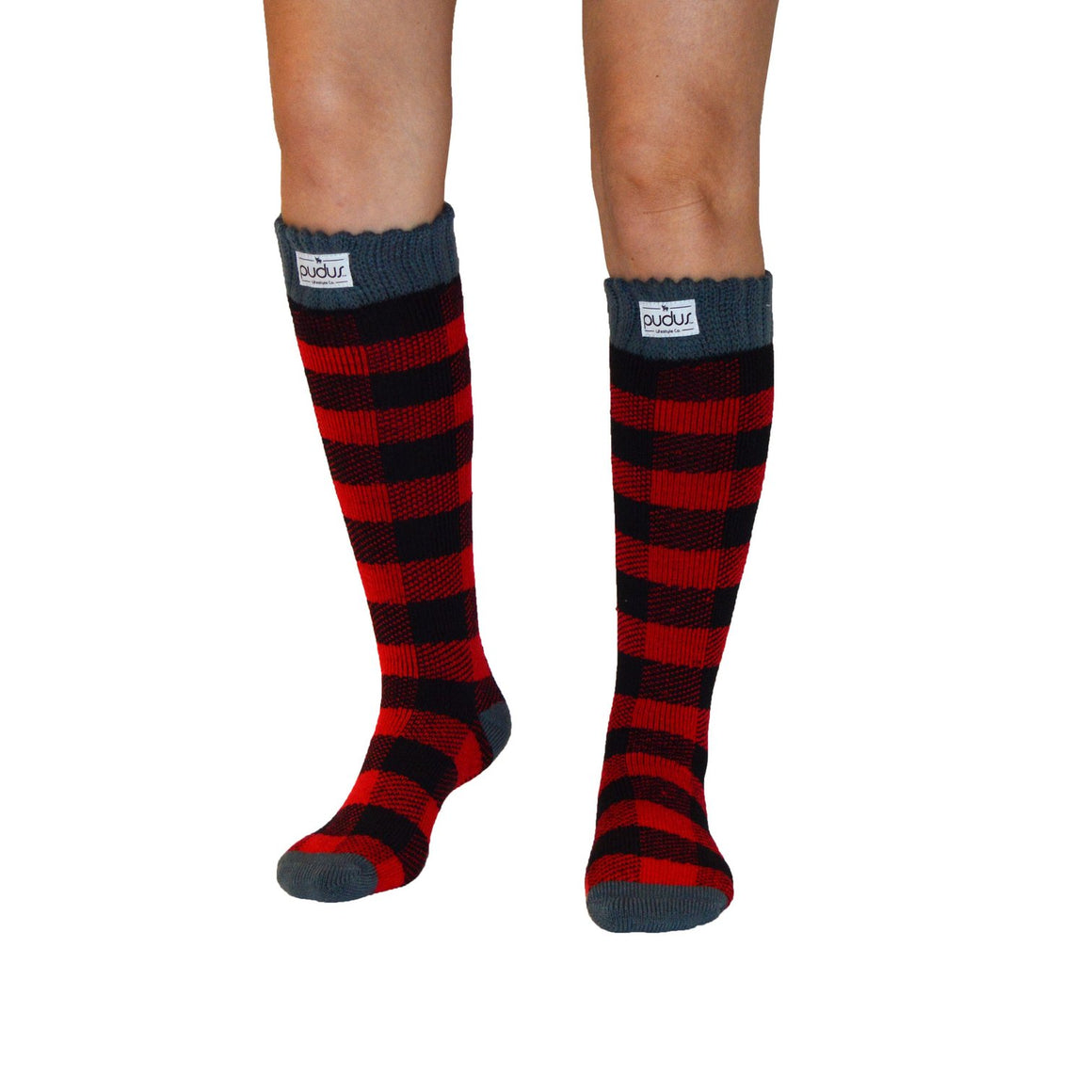 Pudus Boot Sock - Tall Lumberjack Red - Lounge Beauties