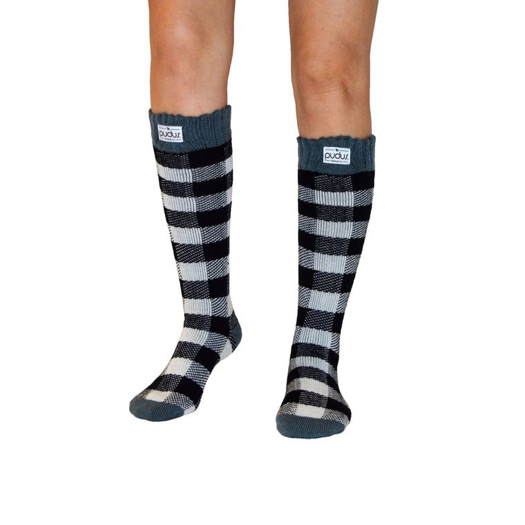 Pudus Boot Sock - Tall Lumberjack White - Lounge Beauties