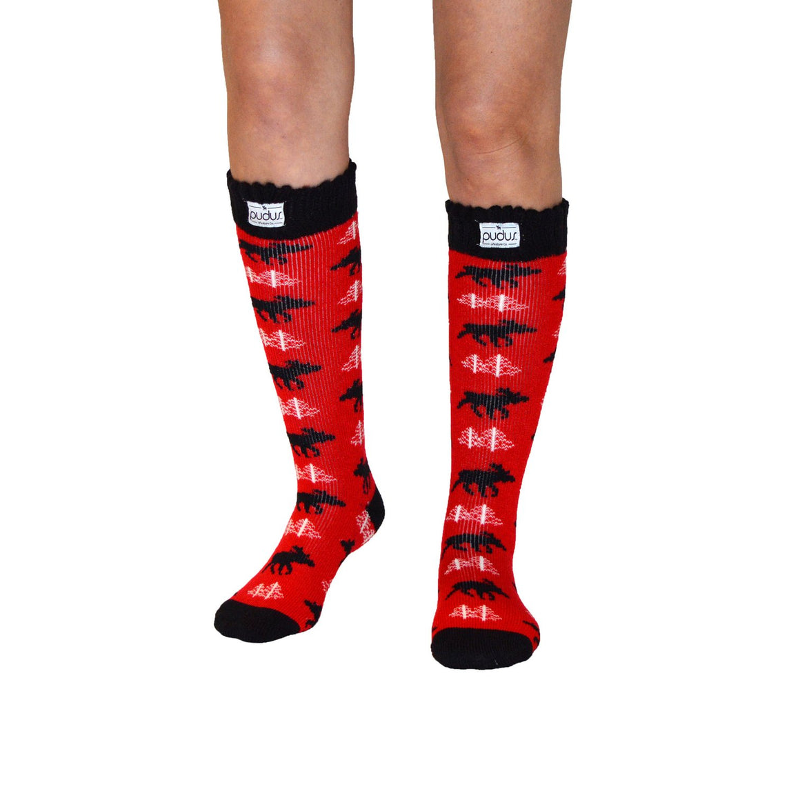 Pudus Boot Sock - Tall Moose Red - Lounge Beauties