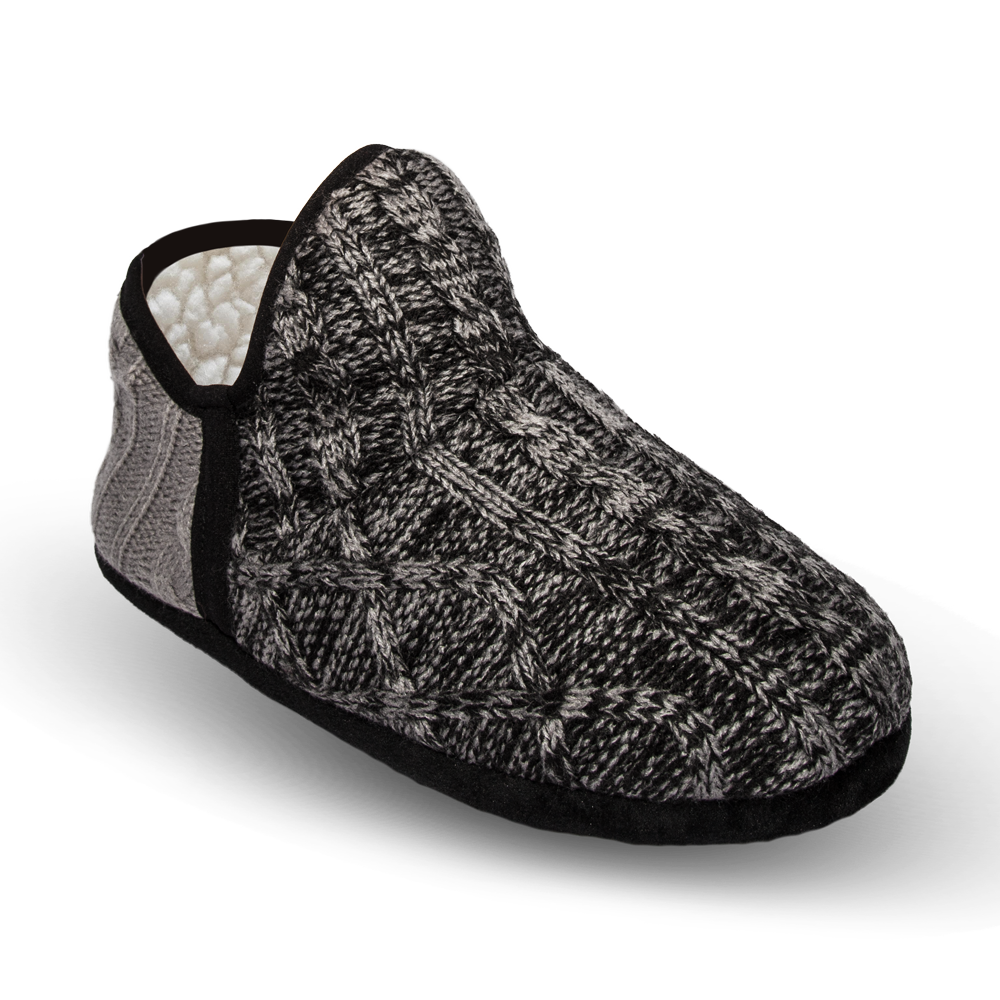 Pudus Brodie Slipper - Cable Knit Grey - Lounge Beauties