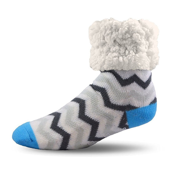 Pudus Slipper Socks - Chevron Grey - Lounge Beauties