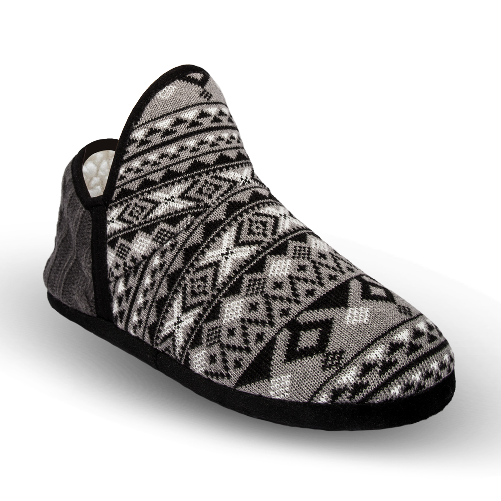 Pudus Brodie Slipper - Geometric Black - Lounge Beauties