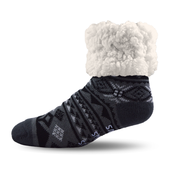 Pudus Slipper Socks - Geometric Black - Lounge Beauties