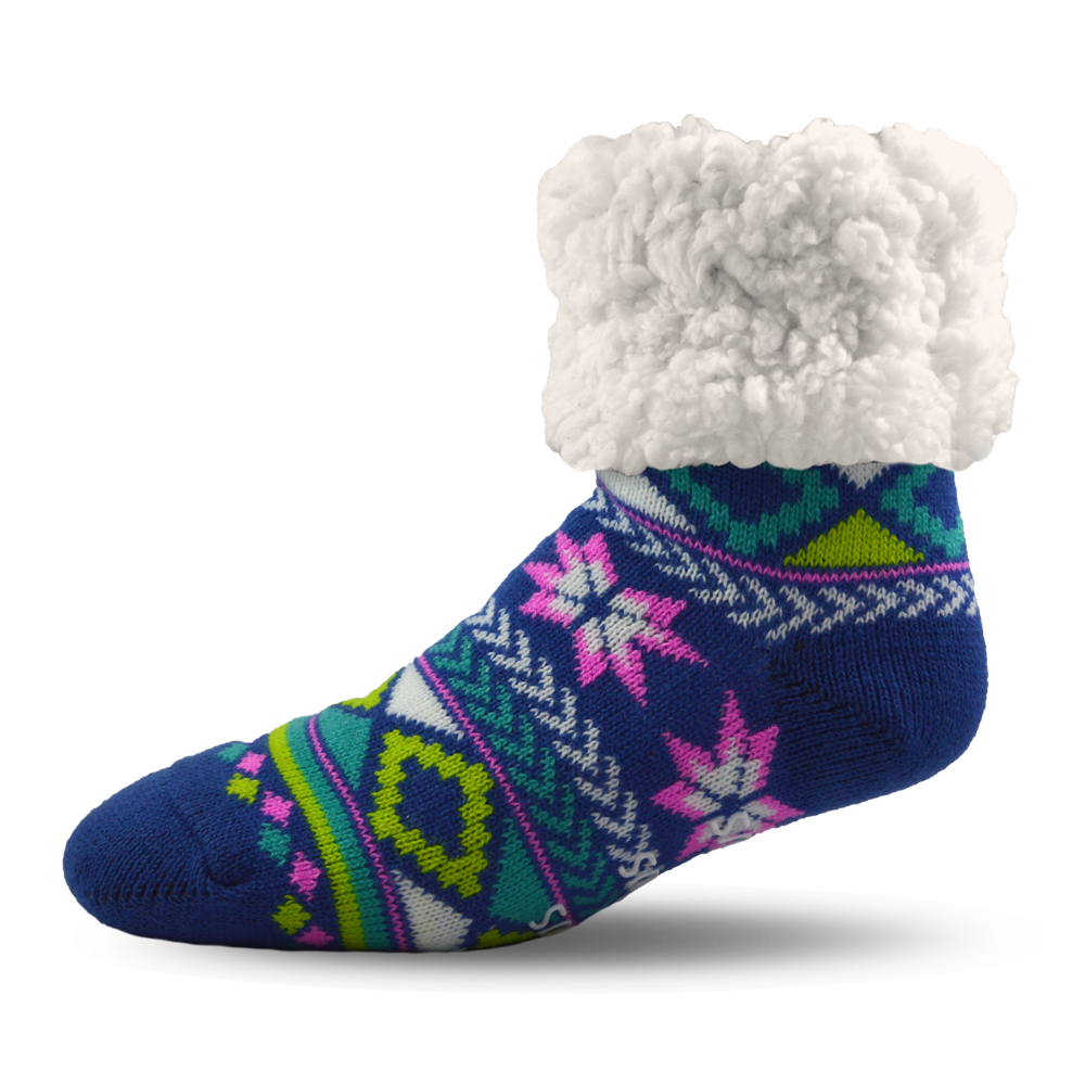 Pudus Slipper Socks - Geometric Blue - Lounge Beauties