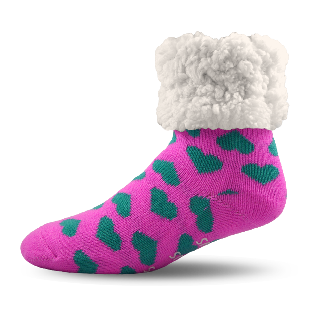 Pudus Slipper Socks - Pink with Hearts - Lounge Beauties
