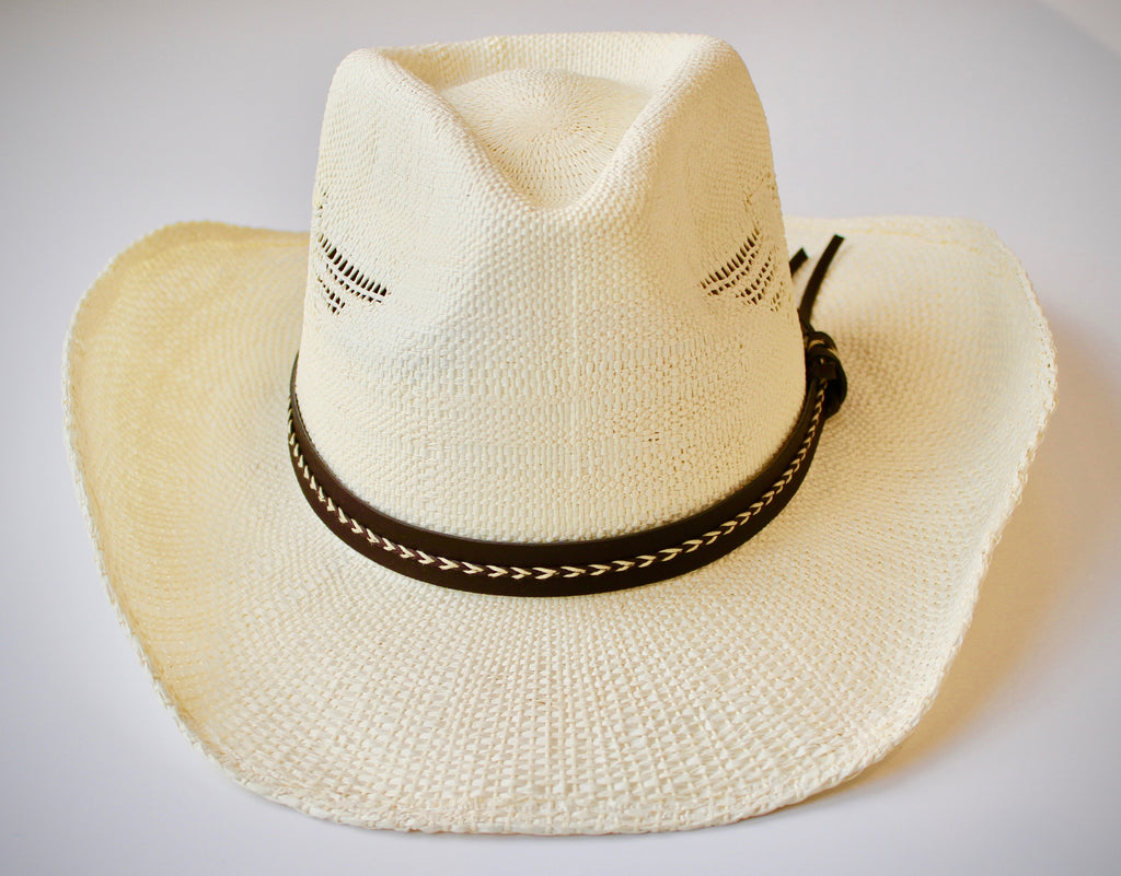 Handwoven Cowgirl Sun Hat in Ivory - Lounge Beauties