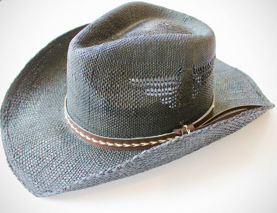 Handwoven Cowgirl Sun Hat in Black - Lounge Beauties