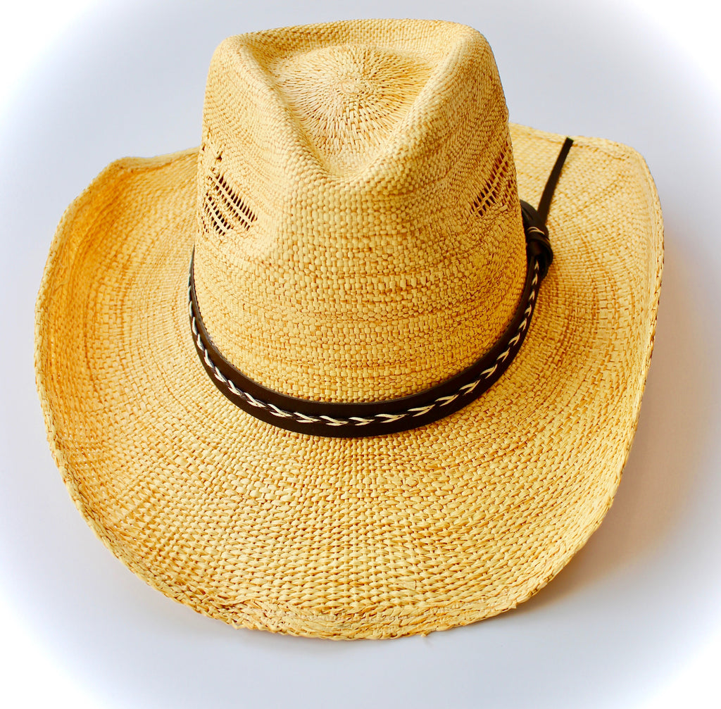 Handwoven Cowgirl Sun Hat in Beige - Lounge Beauties