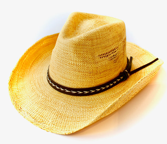 Handwoven Cowgirl Sun Hat in Beige
