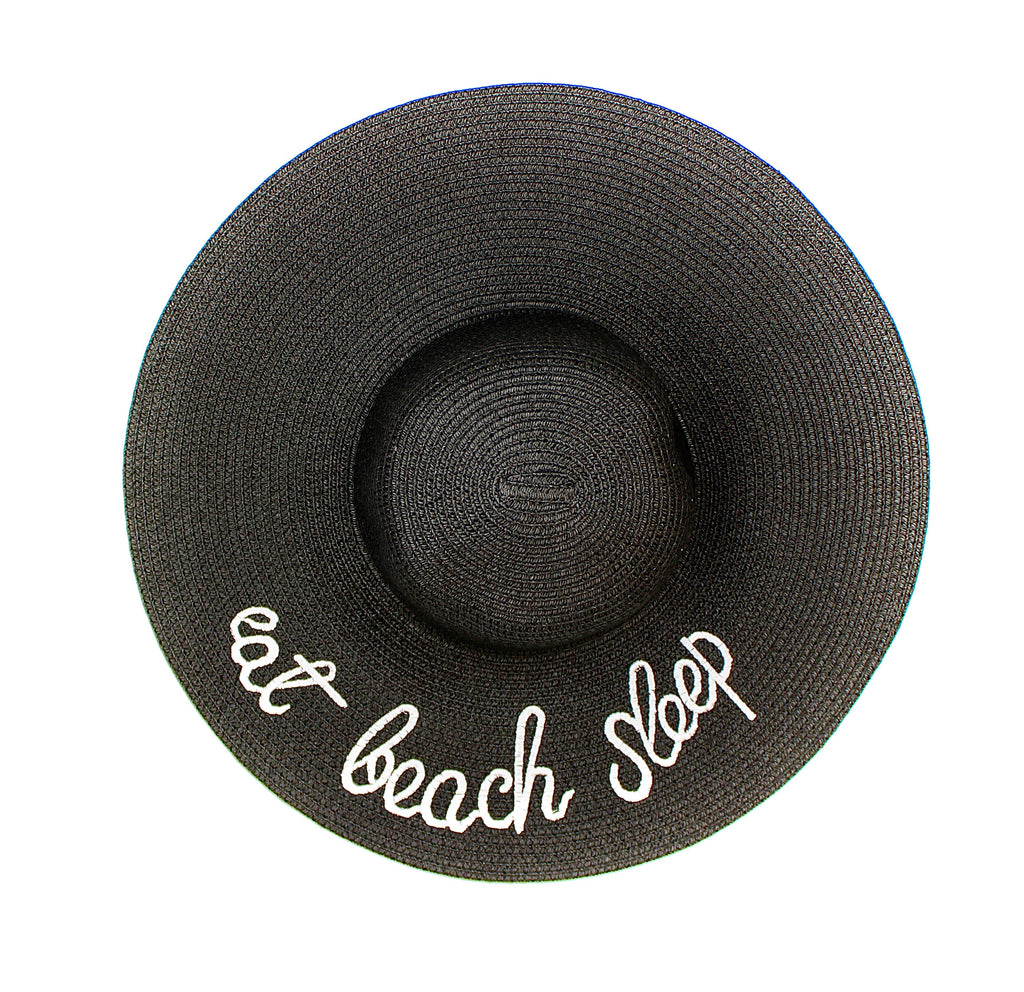 Wide Brim Embroidered Straw Sun Hat in Black - Lounge Beauties