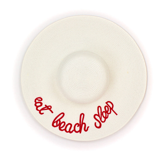 Wide Brim Embroidered Straw Sun Hat in White - Lounge Beauties