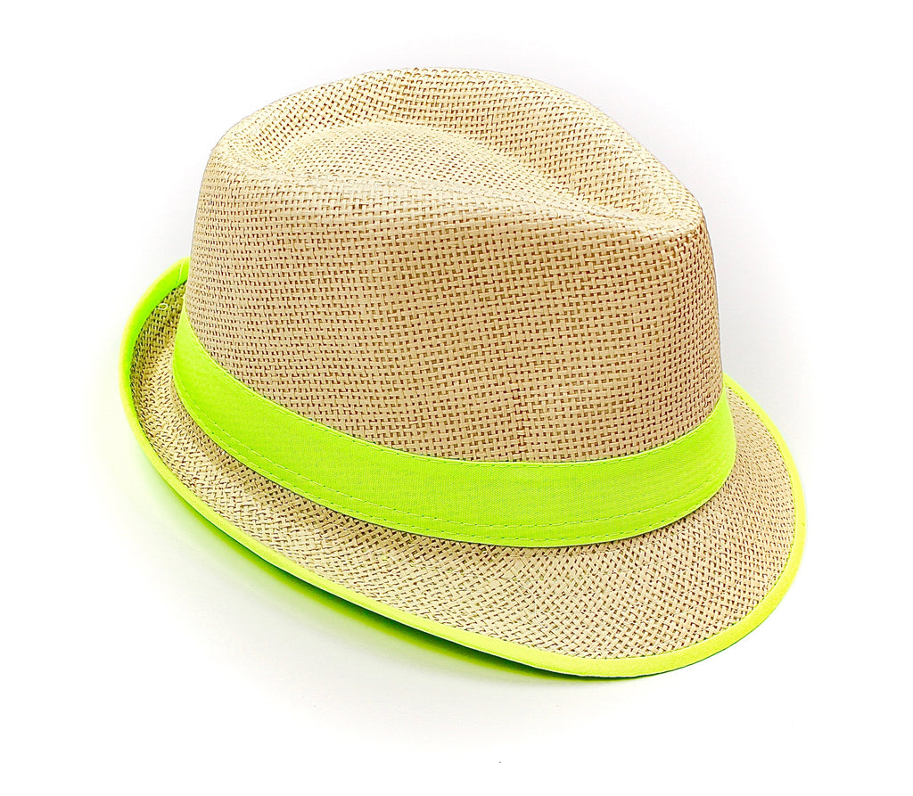 Fedora Straw Hat with Neon Green - Lounge Beauties