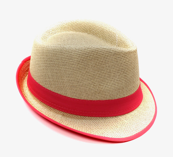 Fedora Straw Hat with Neon Pink - Lounge Beauties