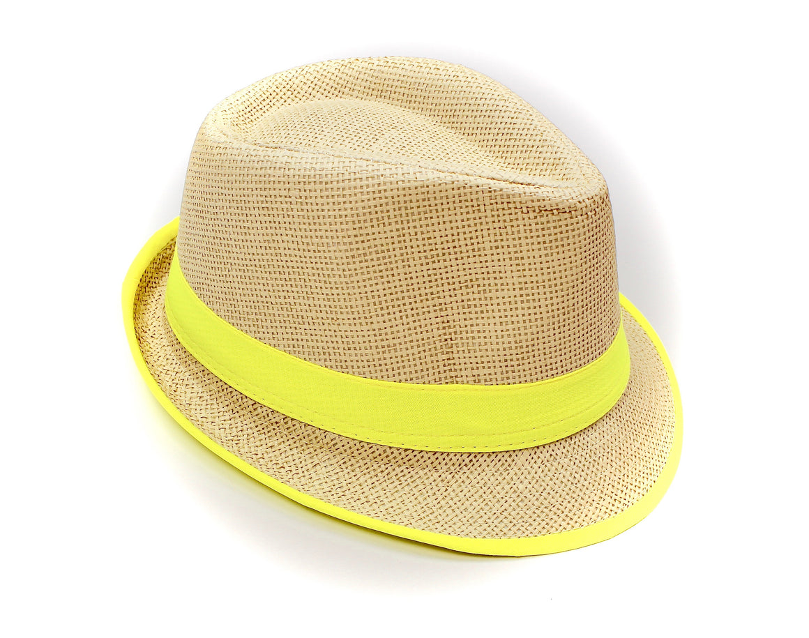 a69c82de1a9e2b Fedora Straw Hat with Neon Yellow - Lounge Beauties