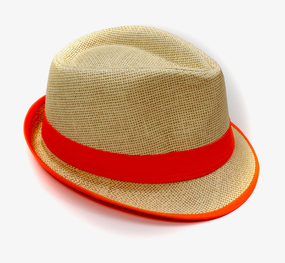 Fedora Straw Hat with Neon Orange - Lounge Beauties