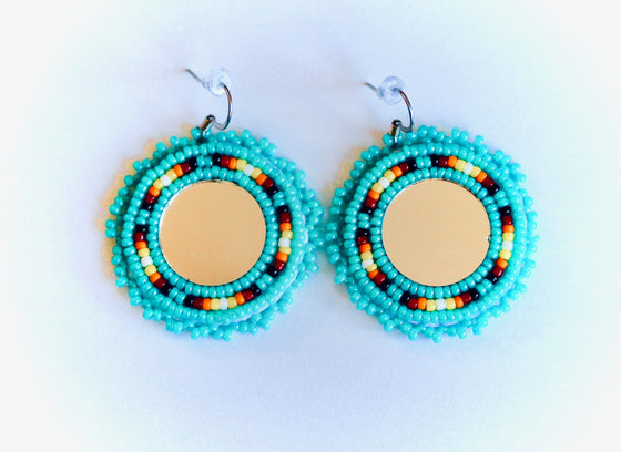 Ora Louise Turquoise Round Beaded Earrings - Lounge Beauties