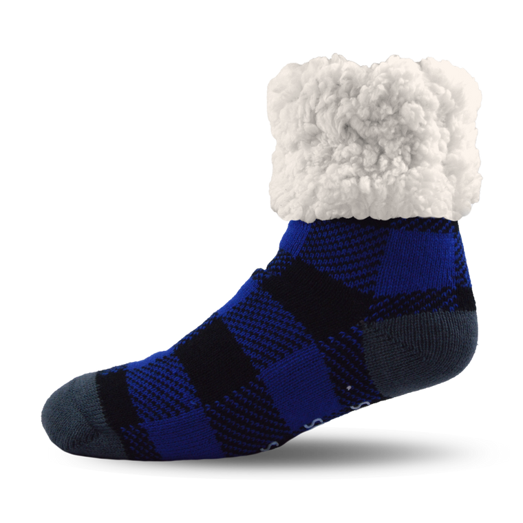 Pudus Slipper Socks - Blue Lumberjack - Lounge Beauties