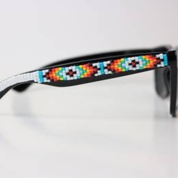 Ora Louise White Southwestern Beaded Sunglasses - UV 400 Protection Lens - Lounge Beauties