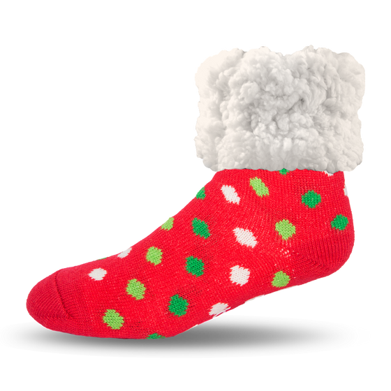 Pudus Slipper Socks - Polka Dot Red - Lounge Beauties