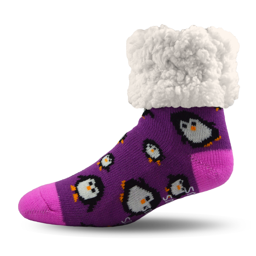 Pudus Slipper Socks - Penguin Purple - Lounge Beauties